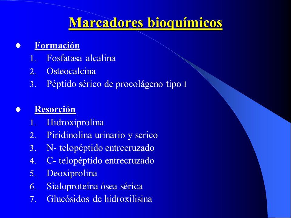 Marcadores bioquímicos Formación 1. Fosfatasa alcalina 2. Osteocalcina 3. Péptido sérico de procolágeno tipo 1 Resorción 1. Hidroxiprolina 2. Piridino