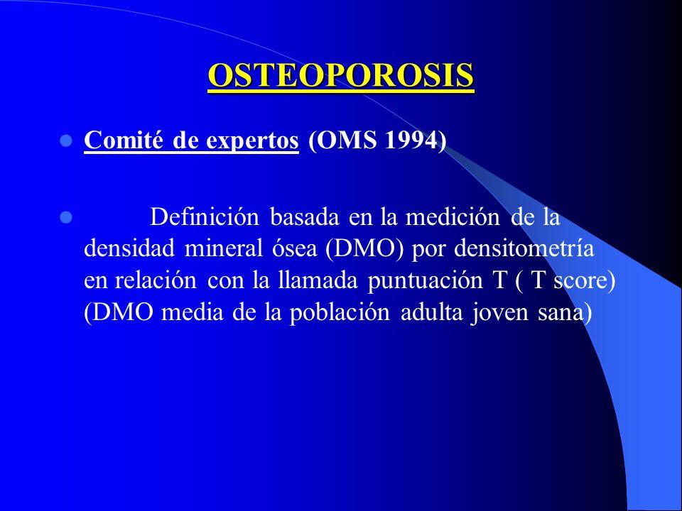 OSTEOPOROSIS Comité de expertos (OMS 1994) Definición basada en la medición de la densidad mineral ósea (DMO) por densitometría en relación con la lla