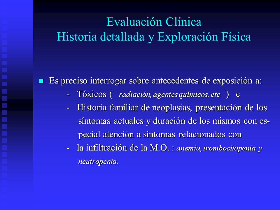 Evaluación Clínica Historia detallada y Exploración Física Es preciso interrogar sobre antecedentes de exposición a: Es preciso interrogar sobre antec