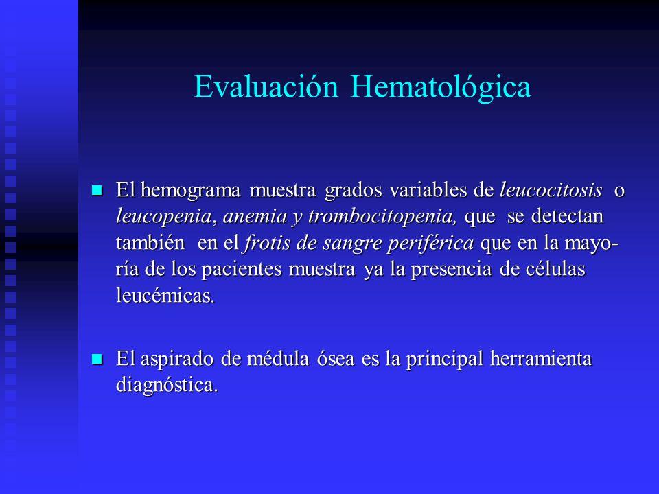 Evaluación Hematológica El hemograma muestra grados variables de leucocitosis o leucopenia, anemia y trombocitopenia, que se detectan también en el fr