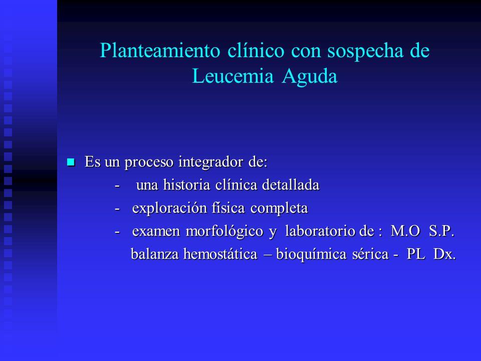 Planteamiento clínico con sospecha de Leucemia Aguda Es un proceso integrador de: Es un proceso integrador de: - una historia clínica detallada - expl