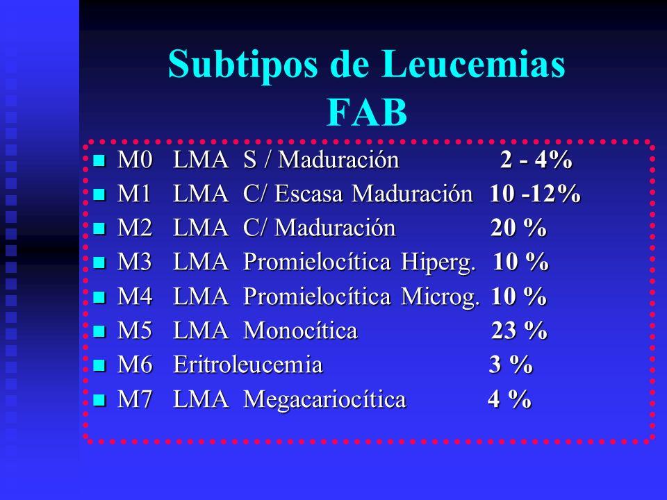 Subtipos de Leucemias FAB M0 LMA S / Maduración 2 - 4% M0 LMA S / Maduración 2 - 4% M1 LMA C/ Escasa Maduración 10 -12% M1 LMA C/ Escasa Maduración 10