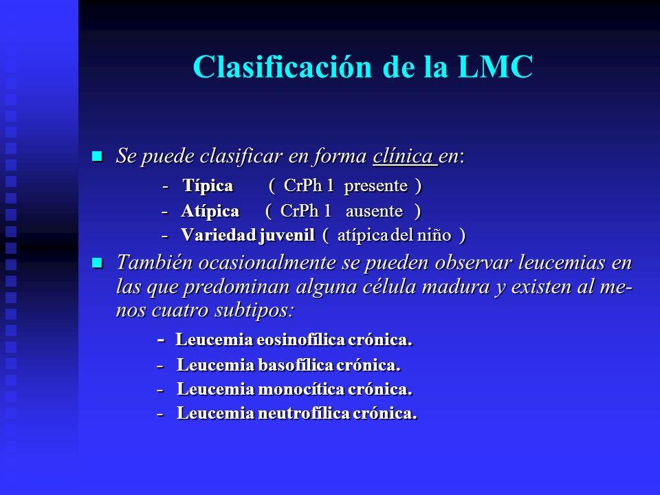 Clasificación de la LMC Se puede clasificar en forma clínica en: Se puede clasificar en forma clínica en: - Típica ( CrPh 1 presente ) - Típica ( CrPh