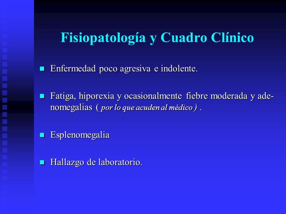 Fisiopatología y Cuadro Clínico Enfermedad poco agresiva e indolente. Enfermedad poco agresiva e indolente. Fatiga, hiporexia y ocasionalmente fiebre