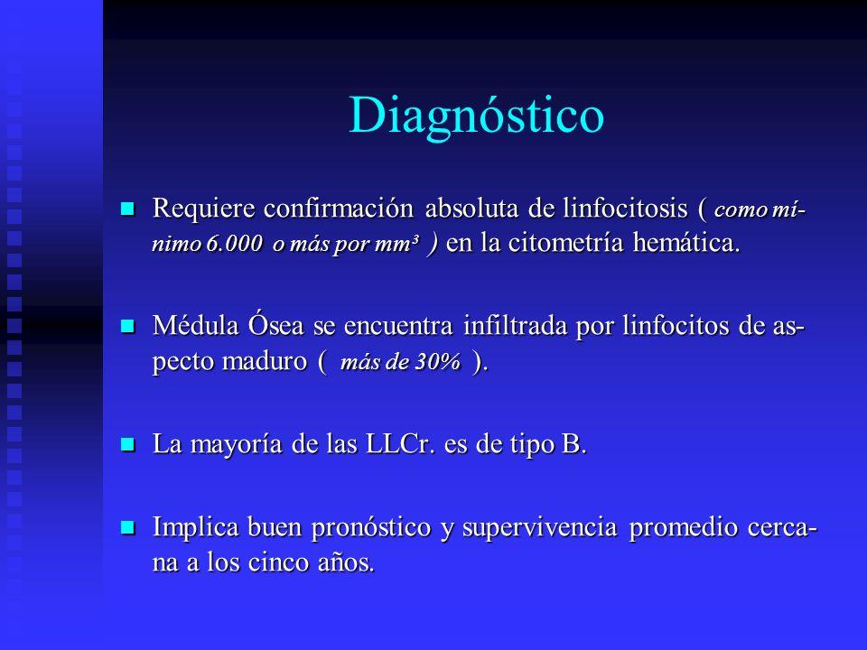 Diagnóstico Requiere confirmación absoluta de linfocitosis ( como mí- nimo 6.000 o más por mm³ ) en la citometría hemática. Requiere confirmación abso