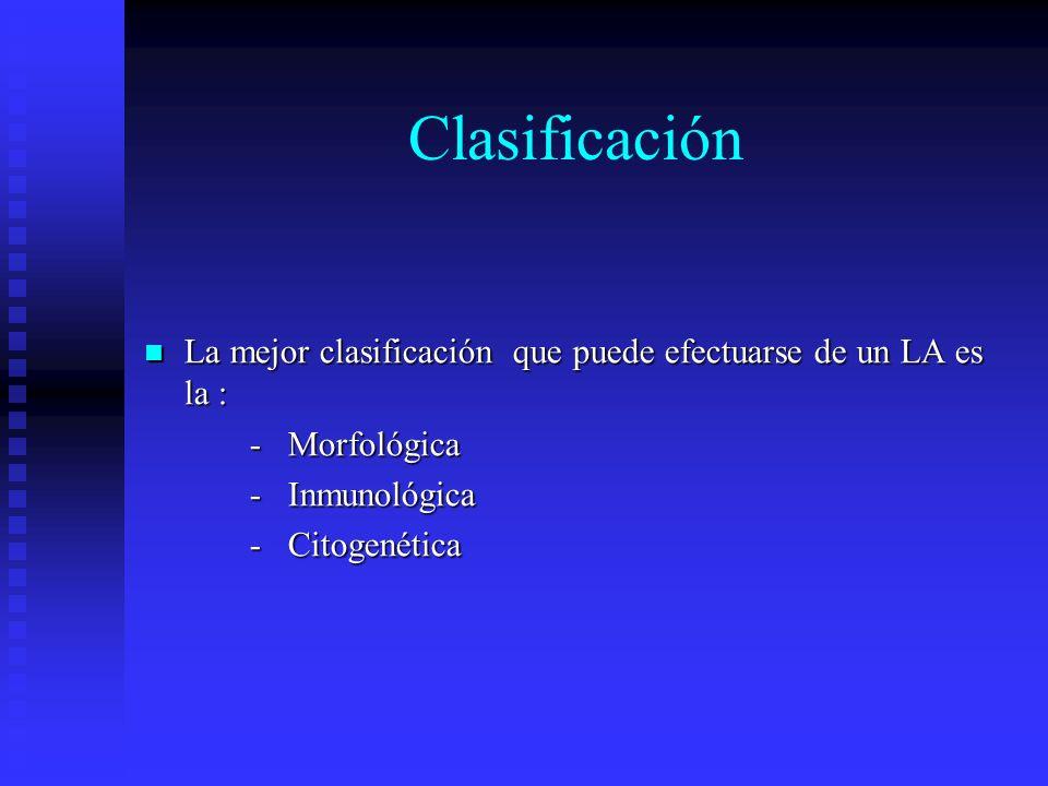 Clasificación La mejor clasificación que puede efectuarse de un LA es la : La mejor clasificación que puede efectuarse de un LA es la : - Morfológica