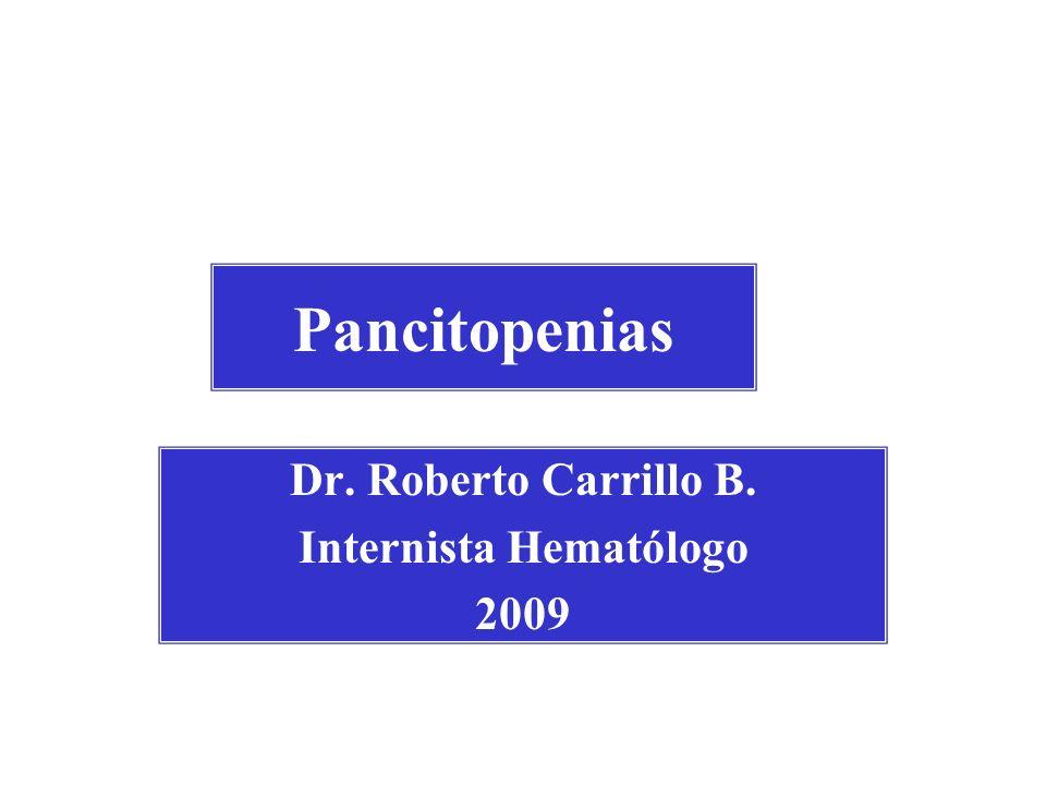 Pancitopenias Dr. Roberto Carrillo B. Internista Hematólogo 2009