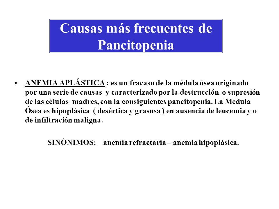 Causas más frecuentes de Pancitopenia ANEMIA APLÁSTICA : es un fracaso de la médula ósea originado por una serie de causas y caracterizado por la dest