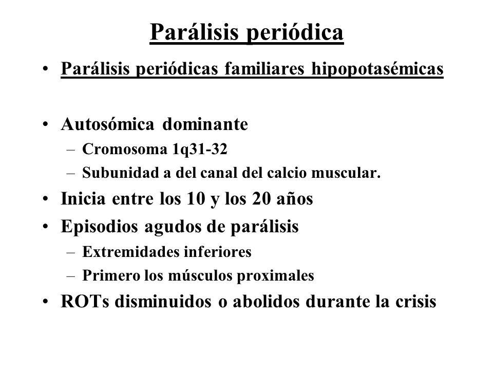 Parálisis periódica Parálisis periódicas familiares hipopotasémicas Autosómica dominante –Cromosoma 1q31-32 –Subunidad a del canal del calcio muscular