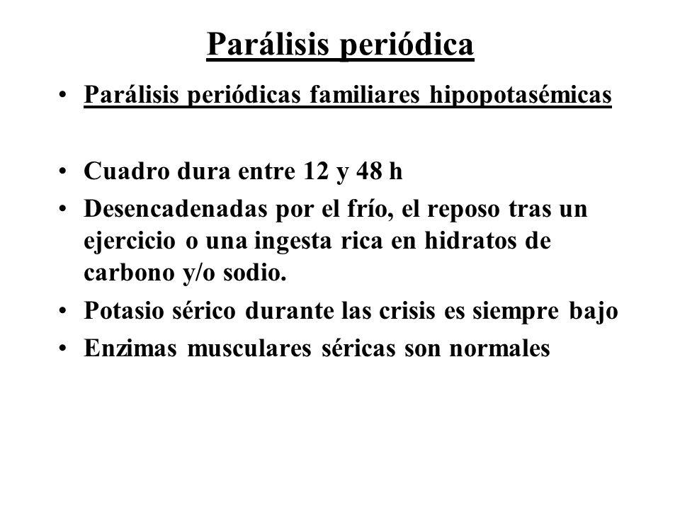 Parálisis periódica Parálisis periódicas familiares hipopotasémicas Cuadro dura entre 12 y 48 h Desencadenadas por el frío, el reposo tras un ejercici