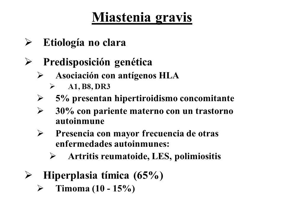 Etiología no clara Predisposición genética Asociación con antígenos HLA A1, B8, DR3 5% presentan hipertiroidismo concomitante 30% con pariente materno