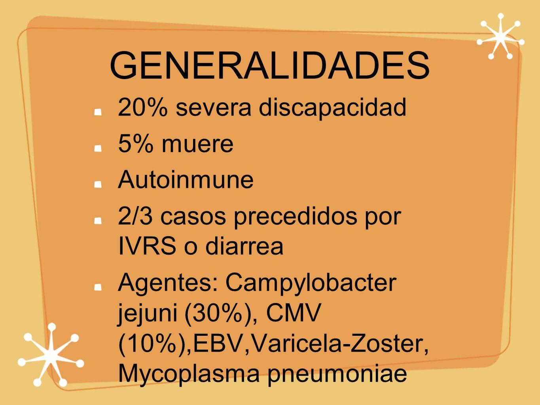 GENERALIDADES 20% severa discapacidad 5% muere Autoinmune 2/3 casos precedidos por IVRS o diarrea Agentes: Campylobacter jejuni (30%), CMV (10%),EBV,V