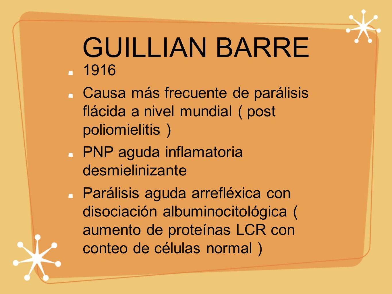GUILLIAN BARRE 1916 Causa más frecuente de parálisis flácida a nivel mundial ( post poliomielitis ) PNP aguda inflamatoria desmielinizante Parálisis a