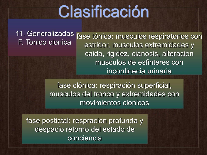 Clasificación 11. Generalizadas F. Tonico clonica fase clónica: respiración superficial, musculos del tronco y extremidades con movimientos clonicos f