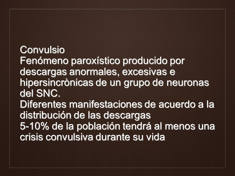 Convulsio Fenómeno paroxístico producido por descargas anormales, excesivas e hipersincrònicas de un grupo de neuronas del SNC. Diferentes manifestaci