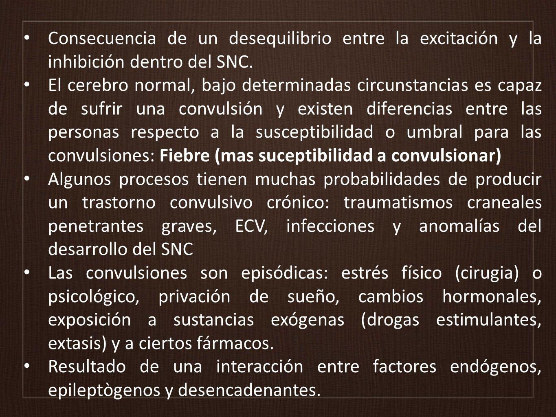 Otras Causas de convulsiones Al corregirse la condición no hay más episodios Al corregirse la condición no hay más episodios Usualmente son tonicoclónico generalizadas Usualmente son tonicoclónico generalizadas ECV 40% Metabólicas: hipoglicemia, hiponatremia 15-30% Medicamentos: Clozapina Abstinencia: Benzodiazepinas Abuso de sustancias: Alcohol 5% Sepsis SNC 3% Polifarmacia Neoplasia SNC: gliomas, meningiomas y metástasis