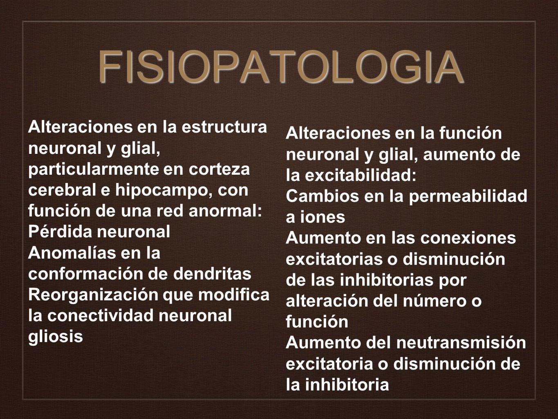 FISIOPATOLOGIA Alteraciones en la estructura neuronal y glial, particularmente en corteza cerebral e hipocampo, con función de una red anormal: Pérdid