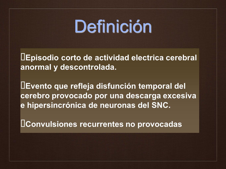 Definición Episodio corto de actividad electrica cerebral anormal y descontrolada. Evento que refleja disfunción temporal del cerebro provocado por un