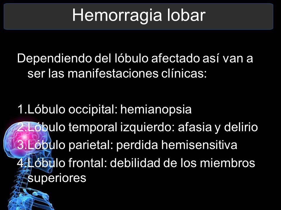 Hemorragia lobar Dependiendo del lóbulo afectado así van a ser las manifestaciones clínicas: 1.Lóbulo occipital: hemianopsia 2.Lóbulo temporal izquier