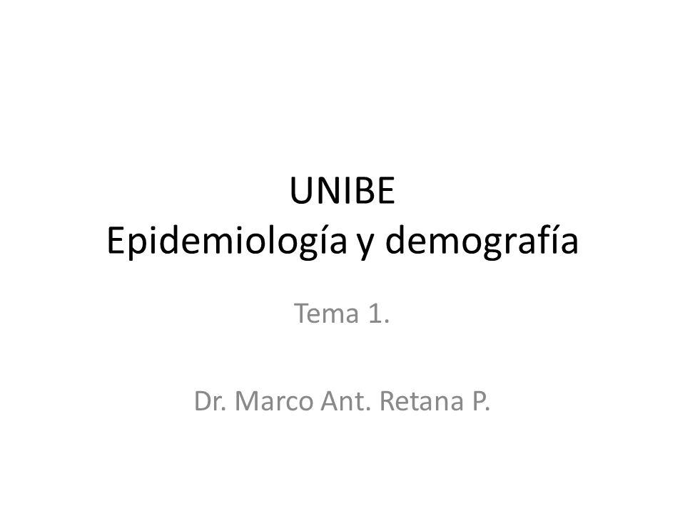 UNIBE Epidemiología y demografía Tema 1. Dr. Marco Ant. Retana P.