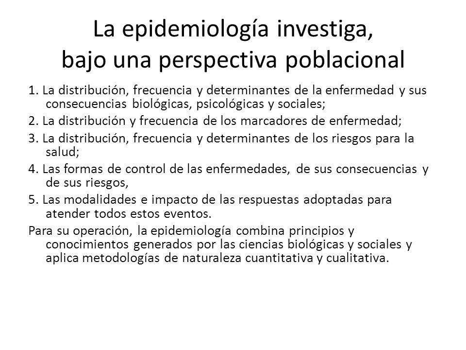 La epidemiología investiga, bajo una perspectiva poblacional 1. La distribución, frecuencia y determinantes de la enfermedad y sus consecuencias bioló