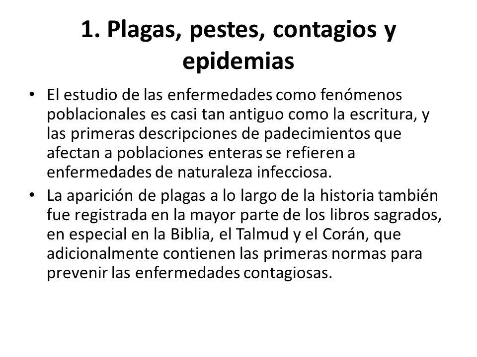 1. Plagas, pestes, contagios y epidemias El estudio de las enfermedades como fenómenos poblacionales es casi tan antiguo como la escritura, y las prim