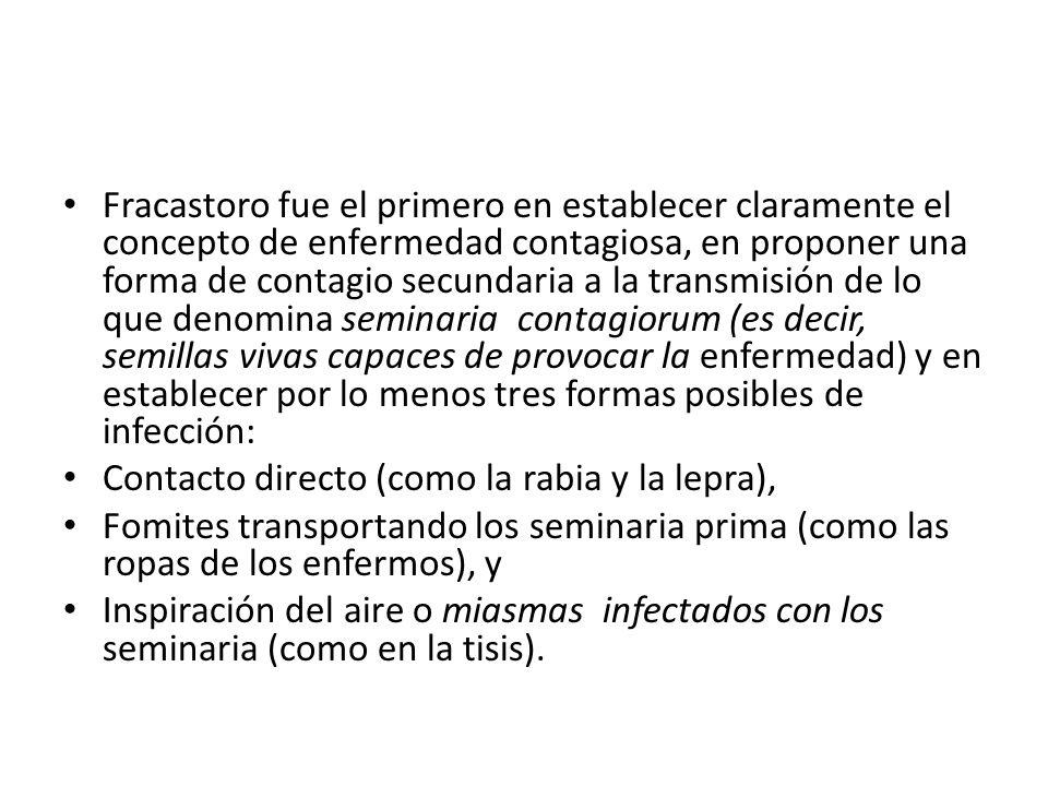 Fracastoro fue el primero en establecer claramente el concepto de enfermedad contagiosa, en proponer una forma de contagio secundaria a la transmisión