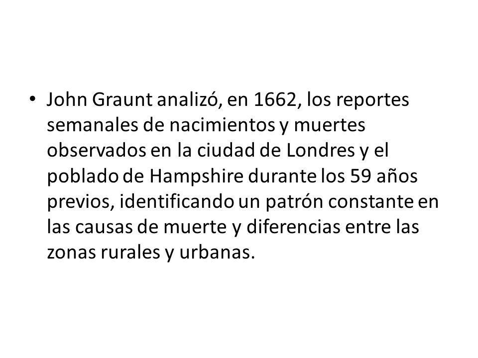 John Graunt analizó, en 1662, los reportes semanales de nacimientos y muertes observados en la ciudad de Londres y el poblado de Hampshire durante los