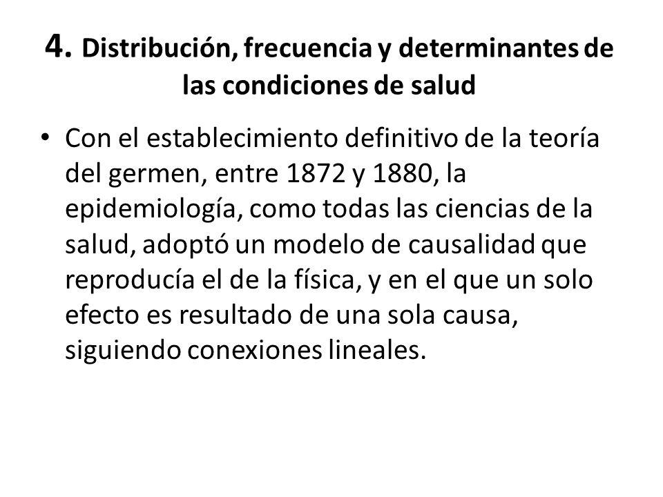 4. Distribución, frecuencia y determinantes de las condiciones de salud Con el establecimiento definitivo de la teoría del germen, entre 1872 y 1880,