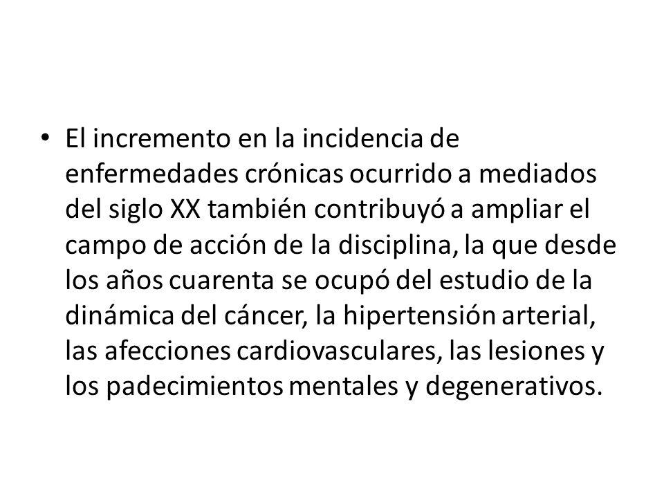El incremento en la incidencia de enfermedades crónicas ocurrido a mediados del siglo XX también contribuyó a ampliar el campo de acción de la discipl