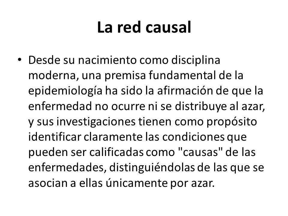 La red causal Desde su nacimiento como disciplina moderna, una premisa fundamental de la epidemiología ha sido la afirmación de que la enfermedad no o