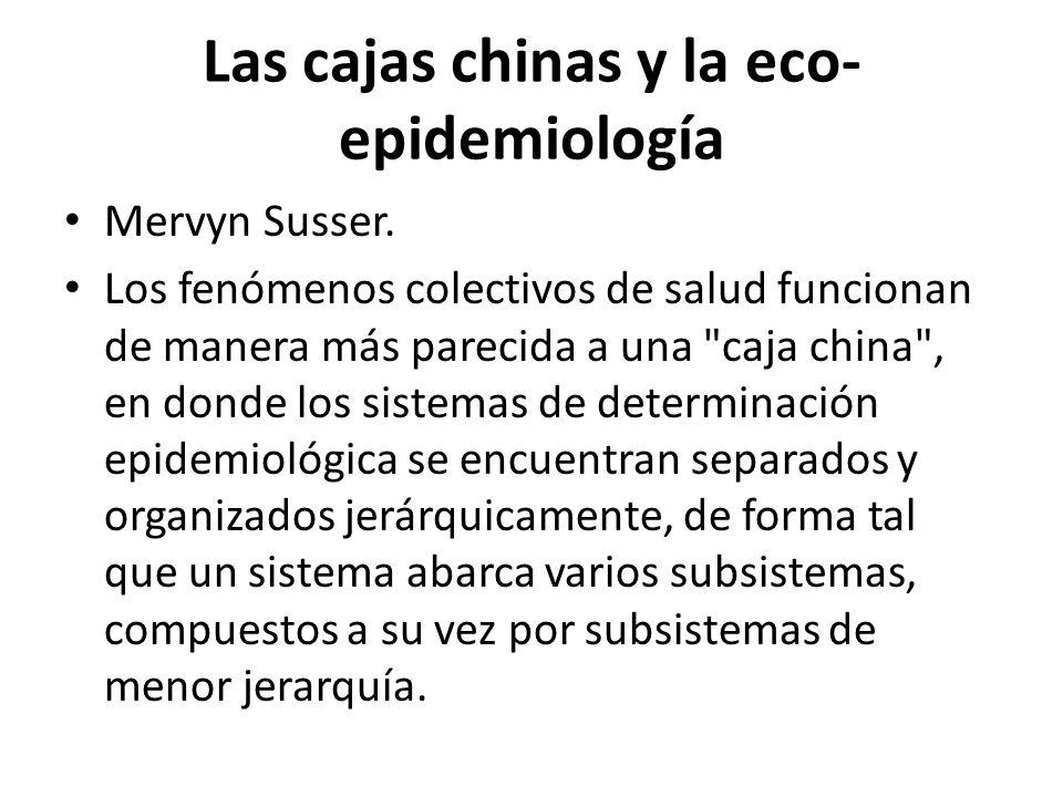 Las cajas chinas y la eco- epidemiología Mervyn Susser. Los fenómenos colectivos de salud funcionan de manera más parecida a una