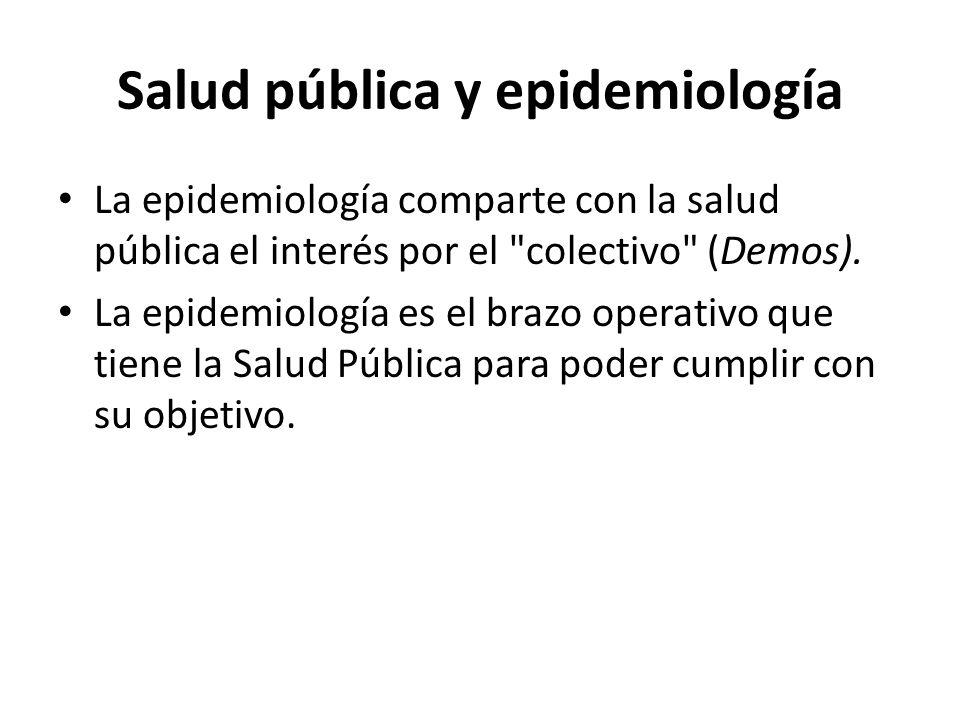 Salud pública y epidemiología La epidemiología comparte con la salud pública el interés por el