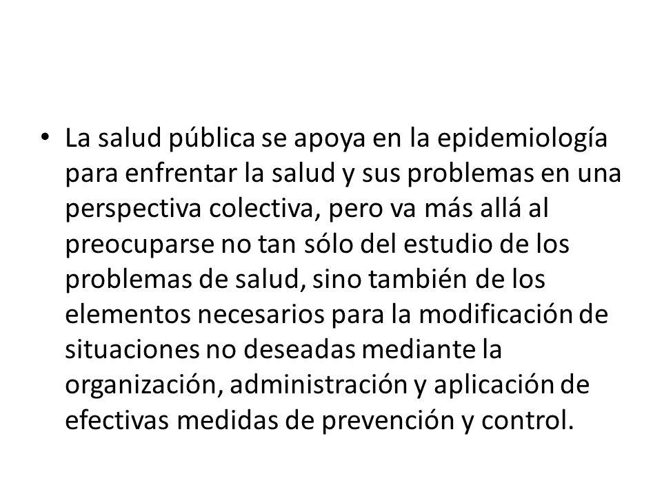 La salud pública se apoya en la epidemiología para enfrentar la salud y sus problemas en una perspectiva colectiva, pero va más allá al preocuparse no