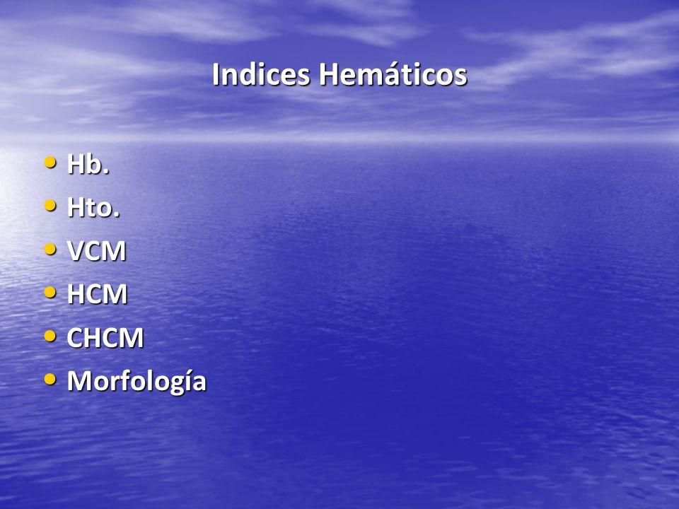 Indices Hemáticos Hb. Hb. Hto. Hto. VCM VCM HCM HCM CHCM CHCM Morfología Morfología