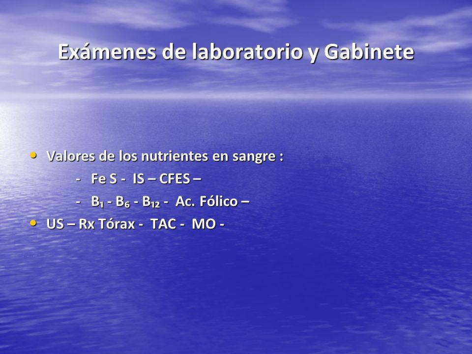 Exámenes de laboratorio y Gabinete Valores de los nutrientes en sangre : Valores de los nutrientes en sangre : - Fe S - IS – CFES – - B - B - B - Ac.