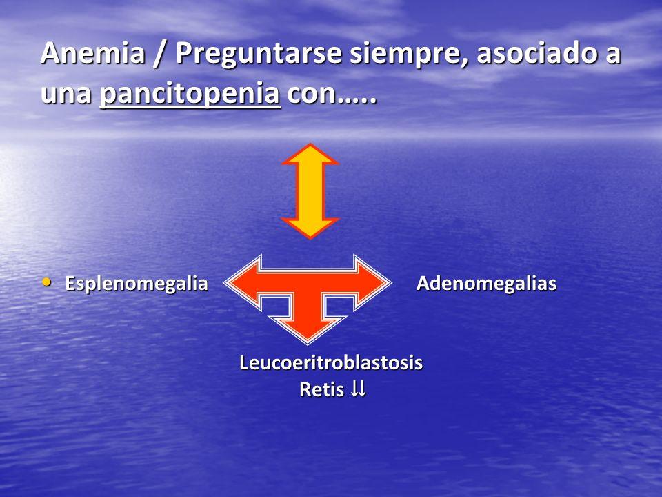 Anemia / Preguntarse siempre, asociado a una pancitopenia con….. Esplenomegalia Adenomegalias Esplenomegalia AdenomegaliasLeucoeritroblastosis Retis R