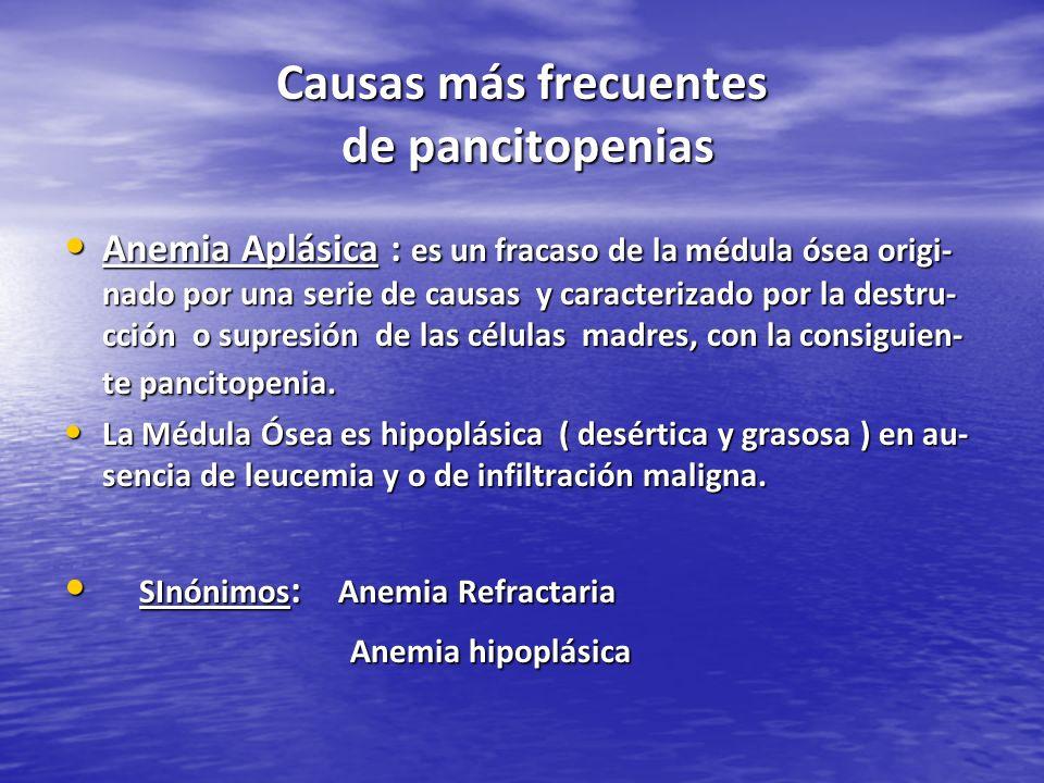 Causas más frecuentes de pancitopenias Anemia Aplásica : es un fracaso de la médula ósea origi- nado por una serie de causas y caracterizado por la de
