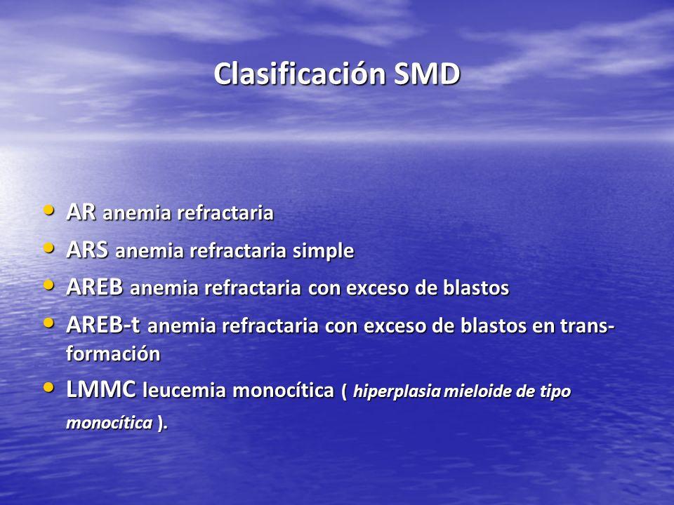 Clasificación SMD AR anemia refractaria AR anemia refractaria ARS anemia refractaria simple ARS anemia refractaria simple AREB anemia refractaria con