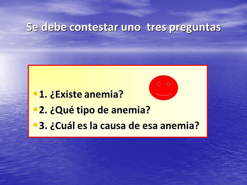 Se debe contestar uno tres preguntas 1. ¿Existe anemia? 1. ¿Existe anemia? 2. ¿Qué tipo de anemia? 2. ¿Qué tipo de anemia? 3. ¿Cuál es la causa de esa