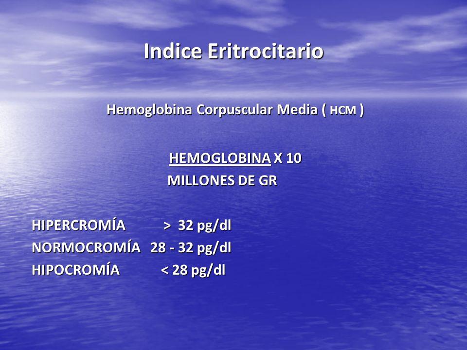 Indice Eritrocitario Hemoglobina Corpuscular Media ( HCM ) HEMOGLOBINA X 10 MILLONES DE GR MILLONES DE GR HIPERCROMÍA > 32 pg/dl NORMOCROMÍA 28 - 32 p