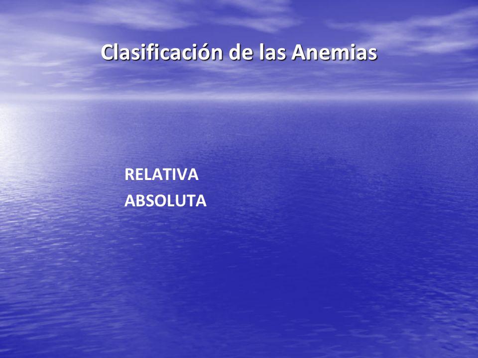 Clasificación de las Anemias RELATIVA ABSOLUTA