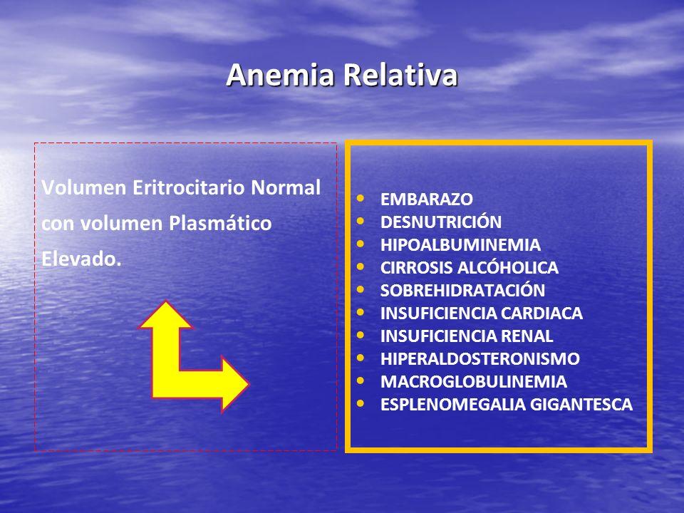 Anemia Relativa Volumen Eritrocitario Normal con volumen Plasmático Elevado. EMBARAZO DESNUTRICIÓN HIPOALBUMINEMIA CIRROSIS ALCÓHOLICA SOBREHIDRATACIÓ