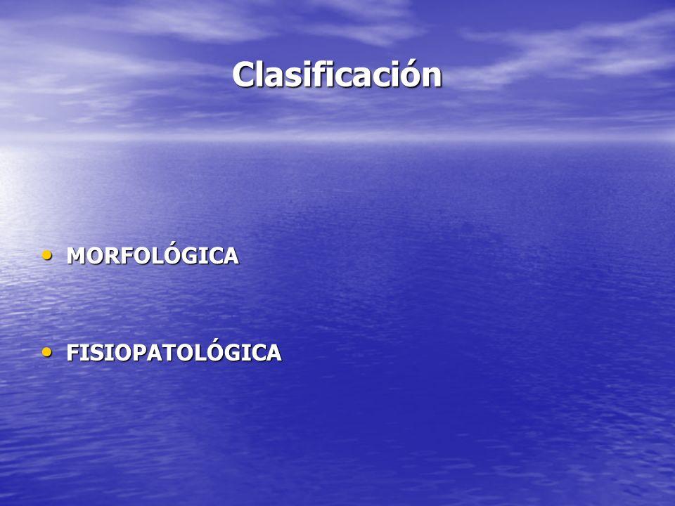 Clasificación MORFOLÓGICA MORFOLÓGICA FISIOPATOLÓGICA FISIOPATOLÓGICA