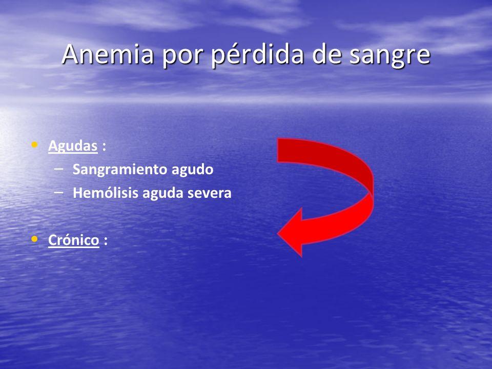 Anemia por pérdida de sangre Agudas : – – Sangramiento agudo – – Hemólisis aguda severa Crónico :