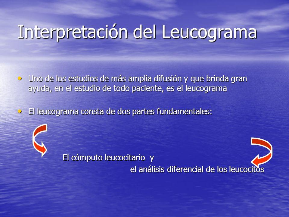 Interpretación del Leucograma Uno de los estudios de más amplia difusión y que brinda gran ayuda, en el estudio de todo paciente, es el leucograma Uno