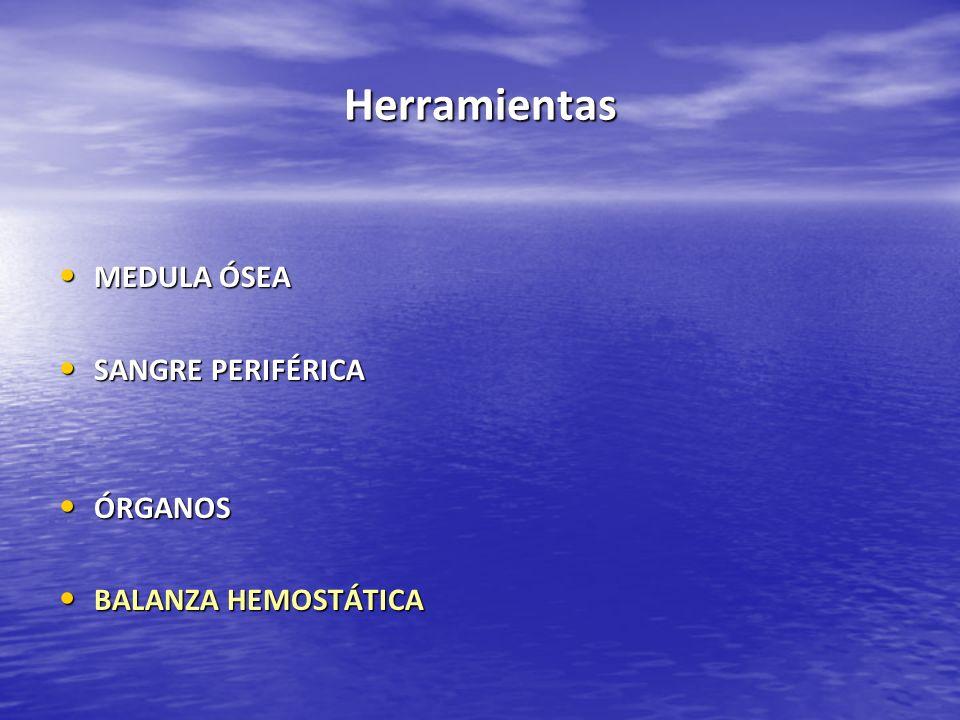 Herramientas MEDULA ÓSEA MEDULA ÓSEA SANGRE PERIFÉRICA SANGRE PERIFÉRICA ÓRGANOS ÓRGANOS BALANZA HEMOSTÁTICA BALANZA HEMOSTÁTICA