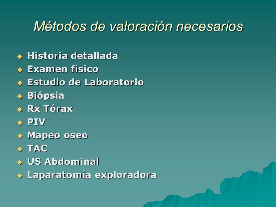 Métodos de valoración necesarios Historia detallada Historia detallada Examen físico Examen físico Estudio de Laboratorio Estudio de Laboratorio Bióps