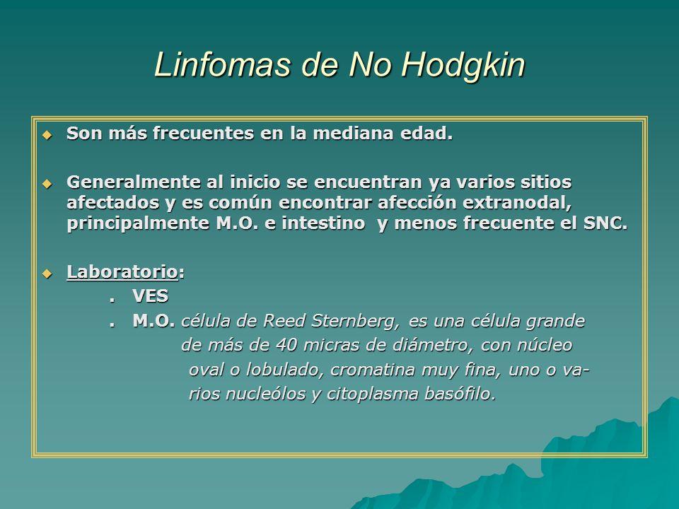 Linfomas de No Hodgkin Son más frecuentes en la mediana edad. Son más frecuentes en la mediana edad. Generalmente al inicio se encuentran ya varios si