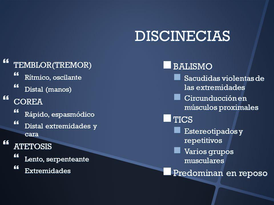 DISCINECIAS TEMBLOR(TREMOR) TEMBLOR(TREMOR) Rítmico, oscilante Rítmico, oscilante Distal (manos) Distal (manos) COREA COREA Rápido, espasmódico Rápido